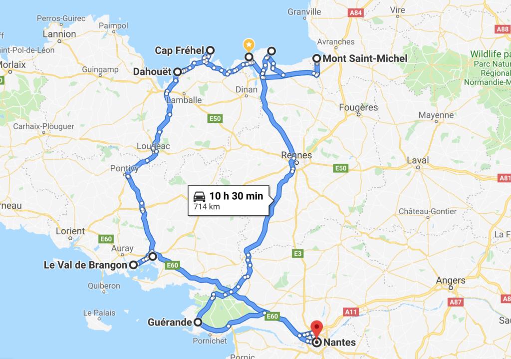 Reiseroute Bretagne